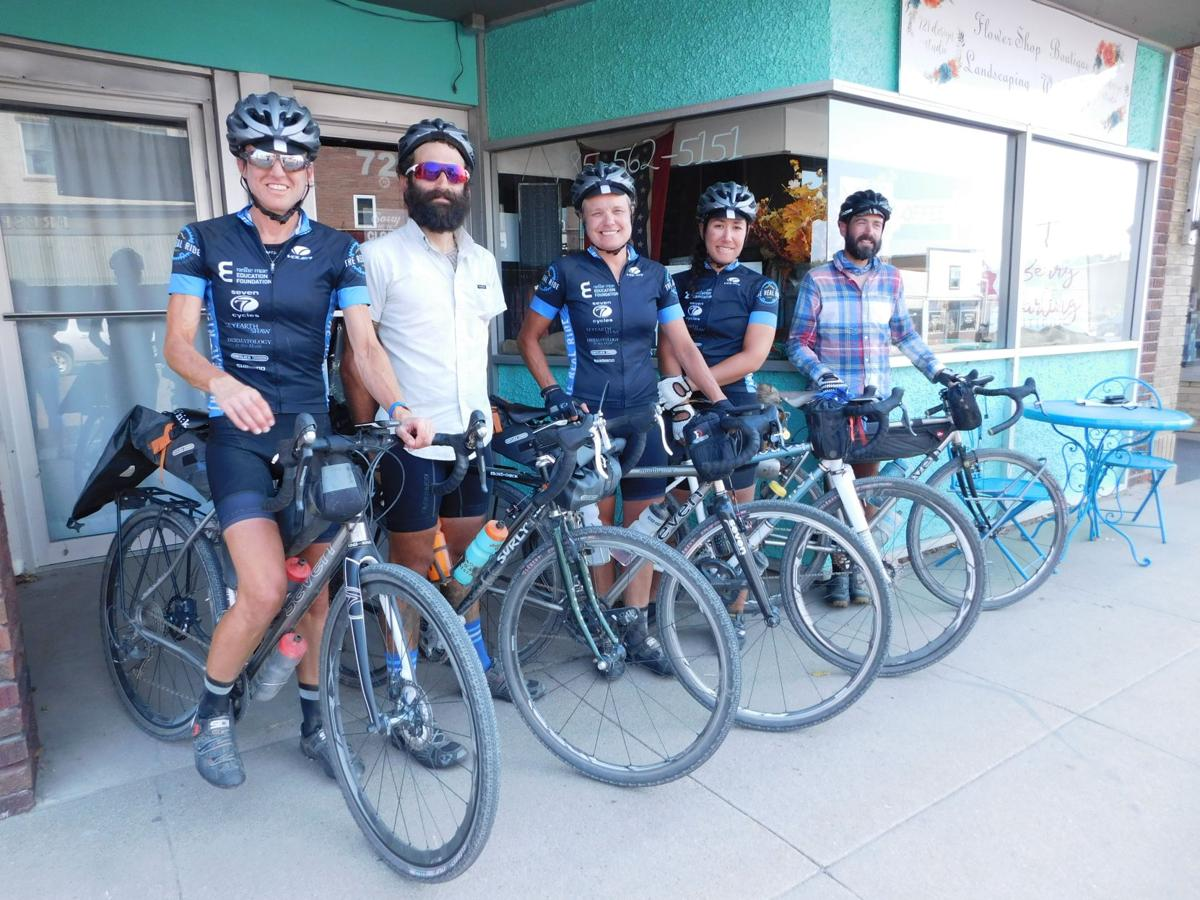 REAL Ride cyclists who stopped in Marysville recently are, from left, Cris Rothfuss, Jay Vasconcellos, Perri Mertens, Erin Abrahams and Dan St. Croix. Photo by Sarah Kessinger
